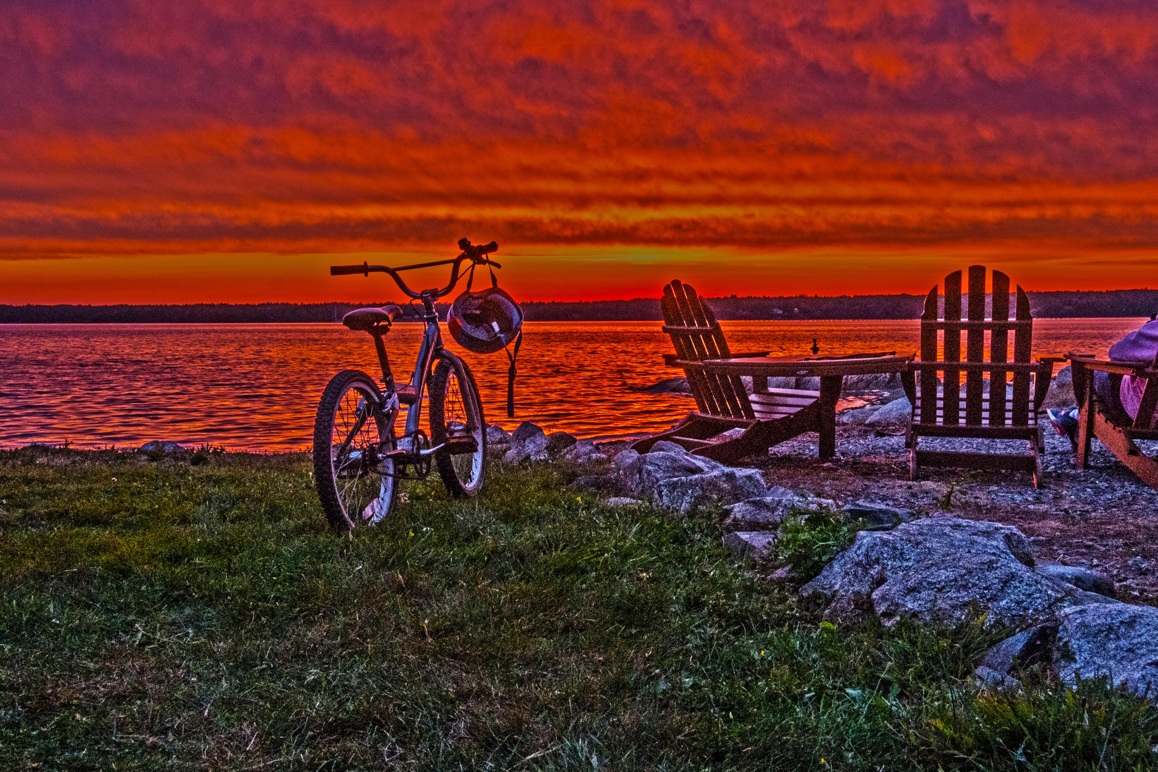 Sunset and Bicycle near Bar Bar Harbor ME